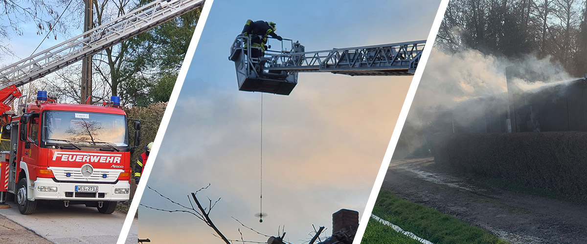 Hütten- und Kaminbrand in Niep